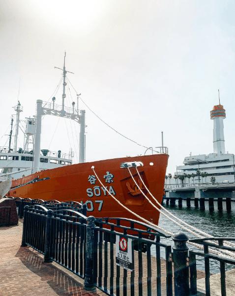 青海ふ頭の南極観測船「宗谷」